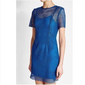 NWT DVF Chain Lace Blue Mini Dress Short Sleeve